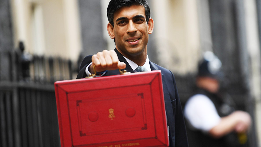 Rishi Sunak Holding Red Budget Briefcase